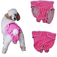 L-Peach Pantalones Sanitarios Lavable Transpirable para Perra Bragas Fisiológicas Higiénicas para Mascotas Pañales para Perrita Rosa M