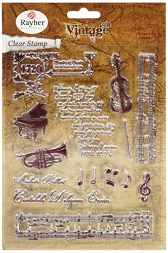 Rayher Hobby 58172000 Clear Stamps Vintage Musik, klar, transparent, durchsichtig, verschiedene Musikmotive, ca. 1 - 12,5 cm, Stempel -