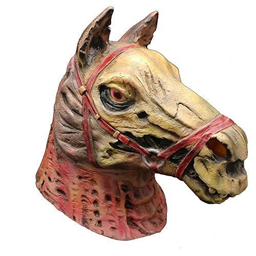 Miarui Pferdemaske Halloween, Latex Tiermaske, Pferdekopf Pferd Kostüm Scream Horror Maske Creepy Scary Maske Karneval Maske für Halloween Fasching Karneval Party Kostüm Cosplay Dekoration,Rot (Gruselig Pferd Maske Kostüm)