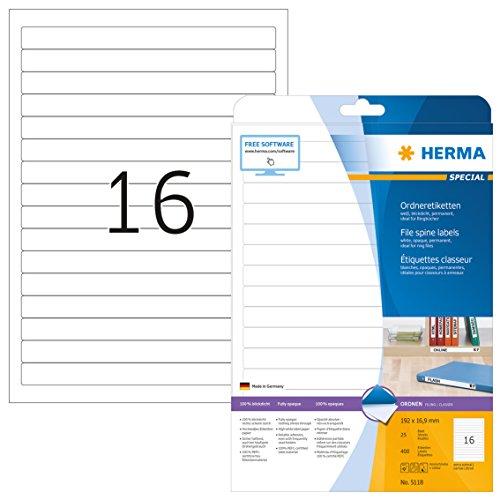 Herma 5118 Ordnerrücken f. Ringbücher (192 x 16,9 mm) 400 Ordner Etiketten, 25 Blatt A4 Papier matt, weiß, bedruckbar, selbstklebend