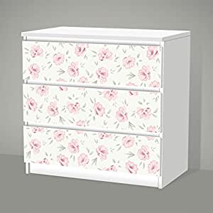 stickers pour ikea malm 3 tiroirs shabby chic motif floral stickers pour film autocollant. Black Bedroom Furniture Sets. Home Design Ideas