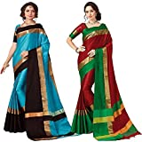 Art Decor Sarees Women's Cotton Silk Designer Saree With Blouse - Combo Of 2 Saree - Total 50 Colors Available