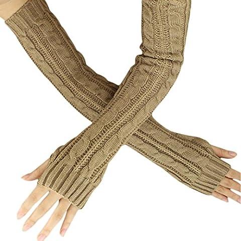 Saingace gloves winter Hanf-Blumen-Fingerless lange Handschuhe Gestrickte (Khaki)