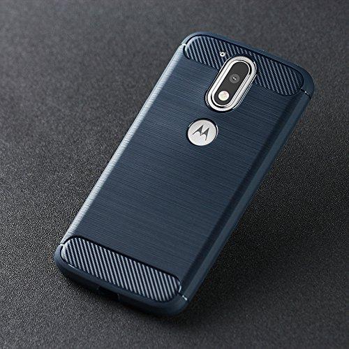 Moto G4 Coque,Moto G4 Plus Coque,Lizimandu Tpu Silicone Gel Étui Housse Protection Shell Cover Case Pour motorola moto g4/g4 plus(Bleu/Blue) Bleu/Blue