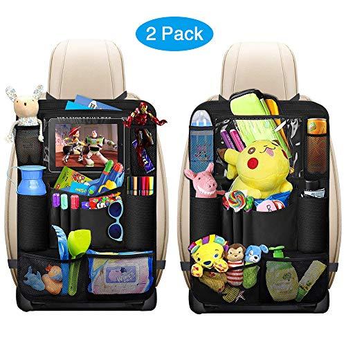 hutz, omitium 2 Stück Auto Rücksitz Organizer für Kinder Große Taschen und iPad-/Tablet-Fach, Wasserdicht Autositzschoner, Kick-Matten-Schutz für Autositze ()