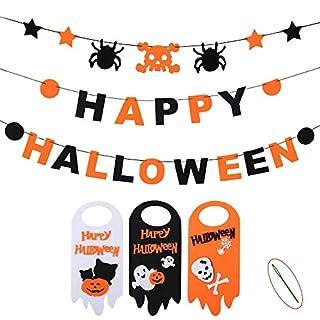 Happy Halloween Banner Set + Door Hanger,Indoor House Decor Kids Party Supplies, 3 PCS Skull Spider Happy Halloween Felt Bunting Garland Decoration Prop, 3 Pumpkin Welcome Door Hanging Sign