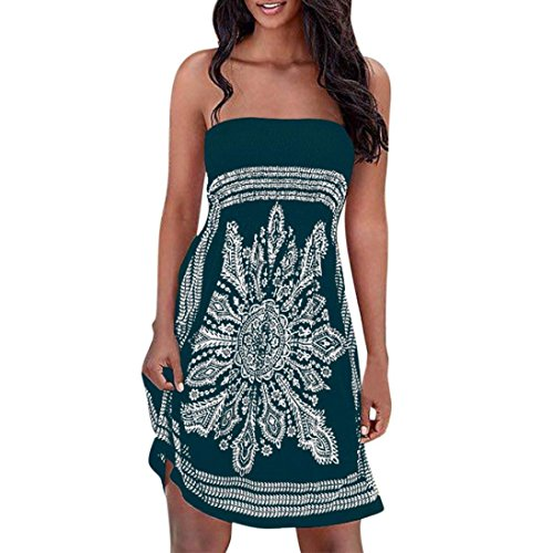 Minikleid,SANFASHION Frauen Strapless Floral böhmischen Casual Strandkleid Vertuschungen Kleid