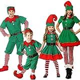 Pijama Navidad Familiar, Disfraz de Elfo Adultos Mujer Hombre Niños Niña Disfraz de Duende de Navidad Halloween Cosplay Fancy Vestidos Tops Blusa pantalón Xmas con Sombreros (Niño, 2 años)