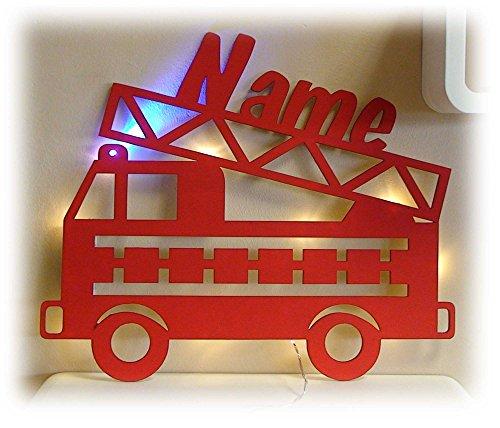 Schlummerlicht24 Deko Motive Led Lampe Feuerwehr Blaulicht Name - Geschenk für Kinder Feuerwehrauto Feuerwehrzimmer Rot