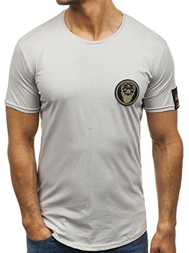 BOLF Herren T-Shirt mit Rundhalsausschnitt Basic Casual Style Breezy 181060 Grau S [3C3]   05902646855431