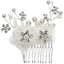Flores Peineta Decorativo Con Cristales De Perlas Accesorios de peinado  Color Beige Para Mujer Fiesta Boda 21ba2122736c