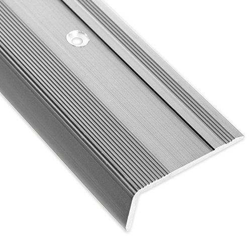 Treppenkantenprofil Glory | silber | L-Form | inklusive rutschhemmender Vinyl-Einlage | 17mm Höhe | Erhältlich in 4 Farben und 3 Längen (90cm)
