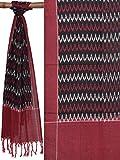 Black & Red Pochampally Ikat Cotton Handloom Stole