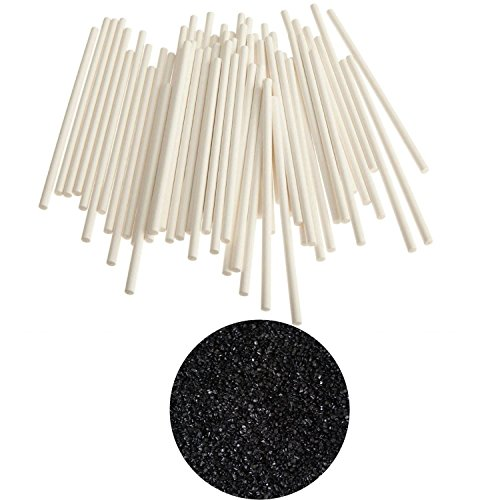 yagma Bio Stiele für Lollies - 50 Stück - 15 cm weiß incl. Glimmerzucker in wunderschön leuchtender Farbe (Schwarz)