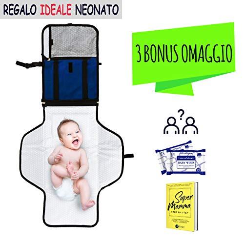 Fasciatoio Portatile Pieghevole Neonato 【3 REGALI INCLUSI】 Kit da Viaggio e per la...