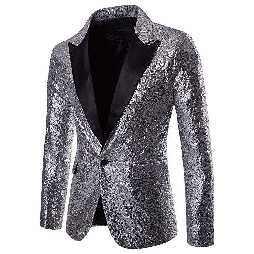 Mitlfuny Karnevalsparty Fancy Festival Zubehör,Charme Männer Casual One Button Fit Anzug Blazer Mantel Jacke Pailletten Party Top