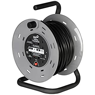 SMJ CTH2513-4SKT 25MTR 13A 240V Heavy Duty Cable Reel with Thermal Cut-Out