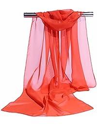 Westeng 1pcs Femme Foulard en Mousseline de Soie Écharpe Mince Châles  Couleur Unie Simple Elégante pour c404d7b5f4a