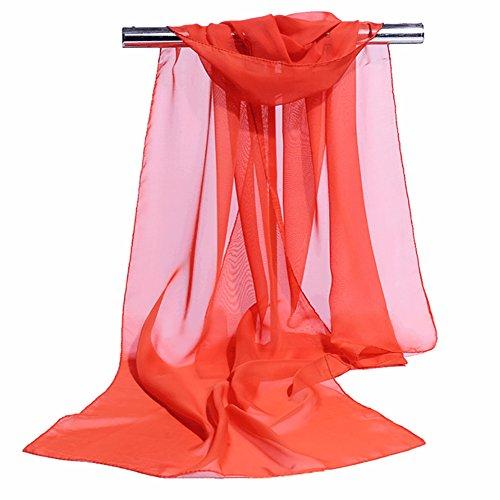 Westeng 1pcs Femme Foulard en Mousseline de Soie Écharpe Mince Châles Couleur Unie Simple Elégante pour Printemps Autom