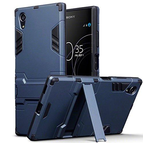 Terrapin, Kompatibel mit Sony Xperia XA1 Plus Hülle, Silikon + Polycarbonat Tasche mit Standfunktion - Dunkelblau EINWEG