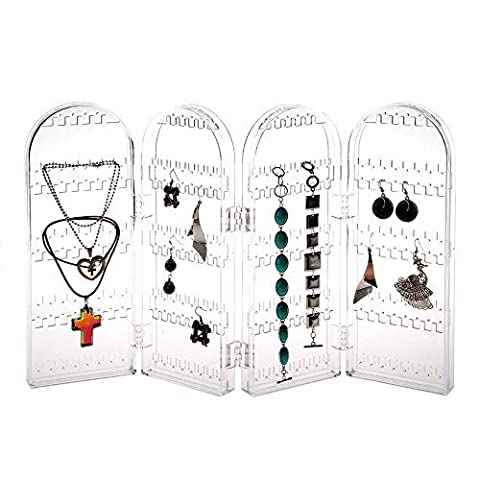 Foldable Acrylic Earring Screen Clear Jewelry Earrings Ear Stud 240 Hole Showcase Display Holder Stand Bracelets, Necklaces Organizer Display Stand with Free 10 Pair Earring Safety Backs - Clear by X-advanture