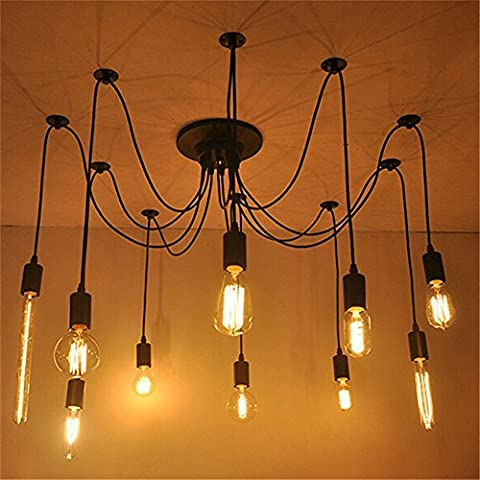 Weare Home Spots Suspensions Retro Rubstique Vintage Peintures Métal 110-220V 8 ampoules(non inclus)Corde 120cm ajustable Luminaire Suspension DIY Salle à manger,Chambre à Coucher,Bureau,Salon