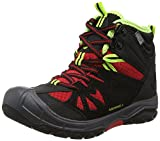 Merrell Capra Mid Waterproof, Zapatos de High Rise Senderismo para Niños, Negro (Black/Redblack/Red), 32 EU