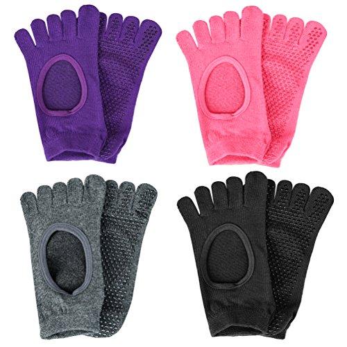Vbiger 4 Paar Yoga Pilates Socken Rutschfeste Socken Grip Socken