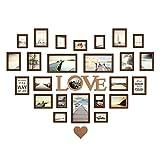 WYDM Photo wall a forma di cuore, foto di foto da parete in legno cornice in legno combinazione creativa europea di soggiorno foto di matrimonio studio fotografico decorazione da parete 164.4cm * 106c