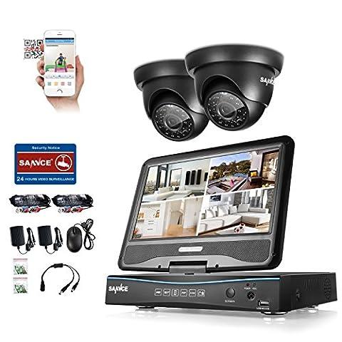 ANNKE Videoüberwachung Überwachungskamera 10,1 Zoll Display 8CH 720P DVR Recorder Überwachungssystem mit 2 Kameras 720P für innen und außen Bereich ohne