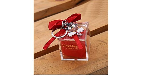 VialeMagico Bomboniere Laurea Gufetto con Occhiali Pergamena Portachiave Scatolina Plexiglass Confettata Kit 10 PZ