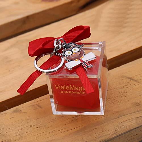 VialeMagico Bomboniere Laurea Eule mit Brille Pergamena Schlüsselanhänger, Plexiglas, Konfekt, 10 Stück