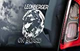 CELYCASY V01 - Adesivo per finestrino Auto, Motivo: Leonberger on Board, Idea Regalo
