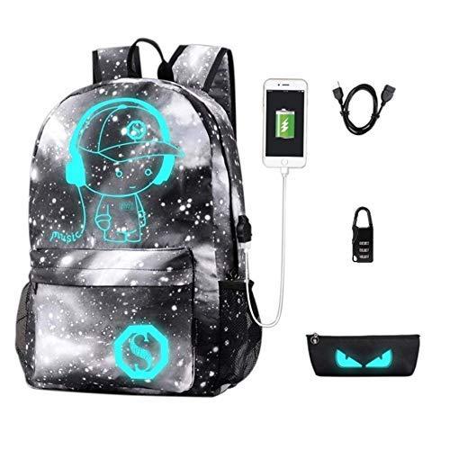 Notizbuchtaschen Rucksack, Anime Luminous Anti-Theft School Bag, Laptop Backpack mit USB Charging Port, Unisex 15.6 Inch College Daypack for Girls, Starry,Gray