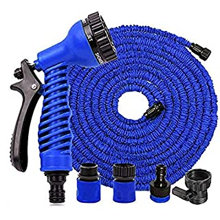 St@llion 100FT Blue Expandable Garden Water Hose Pipe With 7 Pattern Spray Nozzle