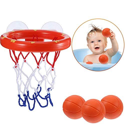 BUYGOO Juguete Divertido para el baño del bebé Niñas Edad 1-6, Juguete para el baño de Baloncesto y aro Juego Creativo para bañarse en la bañera para niños con Ventosas (1 Canasta, 3 Bolas)