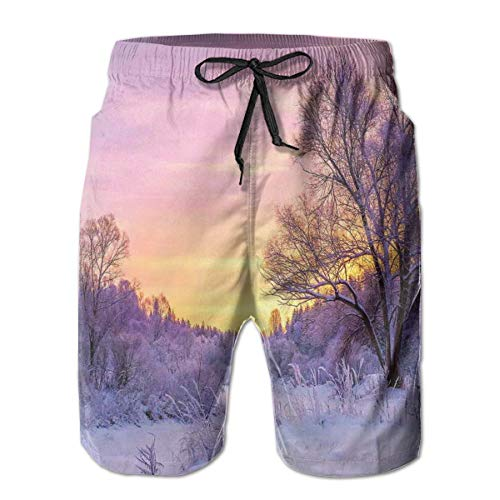 jiger Men Swim Trunks Beach Shorts,Winter Landscape with Sunset and Frozen Trees Ice Weather Blizzard Cold Days Image Pink White,Quick Dry 3D Printed Drawstring Casual Summer Surfing Board Shorts XXL