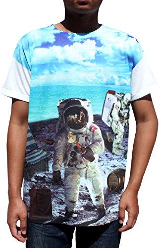 Silky Summer T-Shirt Man On The Moon Astronaut Space Shuttle