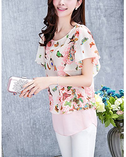 Cheerlife Damen Sommer Casual Loose Fit Kurzarm Fledermaus Batwing T-Shirt Shirt Chiffon Hemd Top Bluse Schmetterlinge Rosa