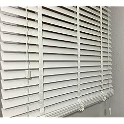 Persiana (Madera Color blanco Láminas ancho 50mm Longitud 250cm no de plástico., blanco, 150