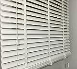 Las láminas de la persiana de madera en colour blanco de la anchura de 50 mm de longitud de piel de 170 cm, blanco, 160