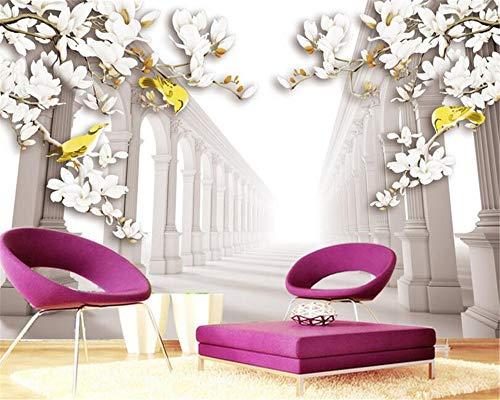 REAGONE Moderne Hauptdekoration 3D Tapete Europäischen Stil Hd Romantische Magnolie Blume 3D Wandbild Tapete Papel De Parede, 200X140 Cm (78,7 X 55,1 In)