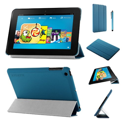 Stuff4®PU Leder Slim zusammenklappbar Multi Position Fall mit Tri Fold Ständer für Kindle Fire HD 8,9, Blau - Kindle 9 Fire Hd Fall