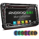 """XOMAX XM-2DA801 Android 6.0.1 Autoradio VW SEAT SKODA / Moniceiver / Naviceiver avec navigation GPS + Écran tactile de 8""""/20cm 16:9 HD (800x480 px) + Support WIFI + Connexion Bluetooth avec fonction mains-libres + Port USB (jusqu'à 2TB) + Fente pour cartes Micro SD (jusqu'à 256 GB) + Mémoire interne 16GB + Connexions subwoofer, caméra recul, commandes au volant + Dimensions Standard DIN double + Antenne GPS inclus"""