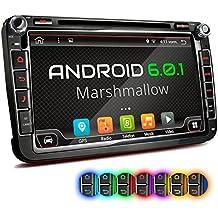 """XOMAX XM-2DA801 Android 6.0.1 radio de coche VW SEAT SKODA / Moniceiver reproductor multimedia / naviceiver con GPS + 8 """"/ 20 cm visualización de la pantalla táctil + HD + soporte WIFI + Bluetooth manos libres + 1 puerto USB 2TB + tarjeta de memoria Micro SD ranura 256GB + Internal memory 16GB + conexiones: subwoofer, cámara de vista trasera y control remoto del volante + Doble DIN (2-DIN) + incluyendo antena GPS"""