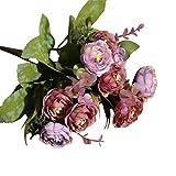 caracteristicas: Este ramo de flores silvestres está hecho de rosas de verdad flor de seda  el mango está envuelto en satén  Diseño de moda, buena calidad, artesanía, magnífico ramo de rosas para la boda.  Tamaño: 29cm;  100 nuevo y de alta ...