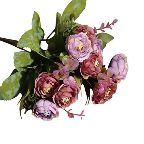 cabezas artificial ramo de flores secas arreglo floral Artificial de rosa de seda boda decoración de la casa flores rosas artificiales de seda flores boda ramo de novia flores para el hogar o para decoración boda fiestas cumpleaños eventos (D)