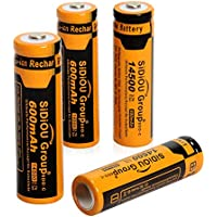 Sidiou Group 14500 agli ioni di litio protetta 3.7V 600mAh batteria ricaricabile per la torcia torcia a LED (un set di 4
