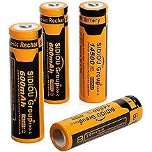 Sidiou Group batería de iones de litio 14500 protegida 3.7V 600mAh batería recargable para linterna LED linterna (Un juego de 4 piezas)