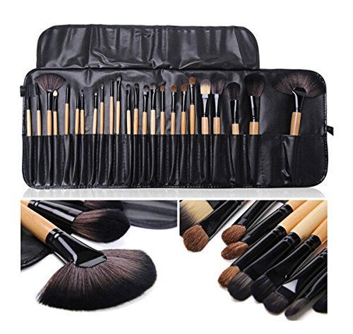 HaoBase Professionelle 24 Stück Naturholz Griff schwarz / braun Make-up Pinsel-Set mit Koffer (Make-up Pinsel Set-braun)